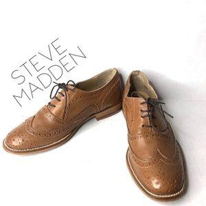 Steve Madden cognac wingtips oxford lace shoes 9.5